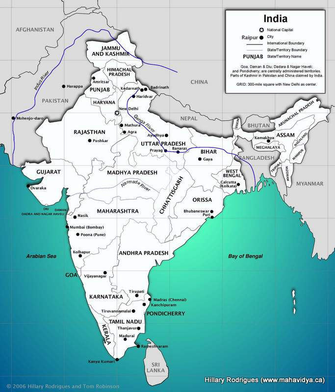 indian sub continent map Map Of The Indian Subcontinent Mahavidya indian sub continent map